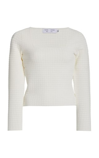 Quilted-Knit Square-Neck Top