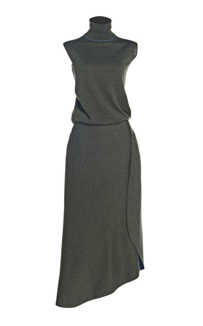 Wool-Blend Wrap-Effect Midi Dress