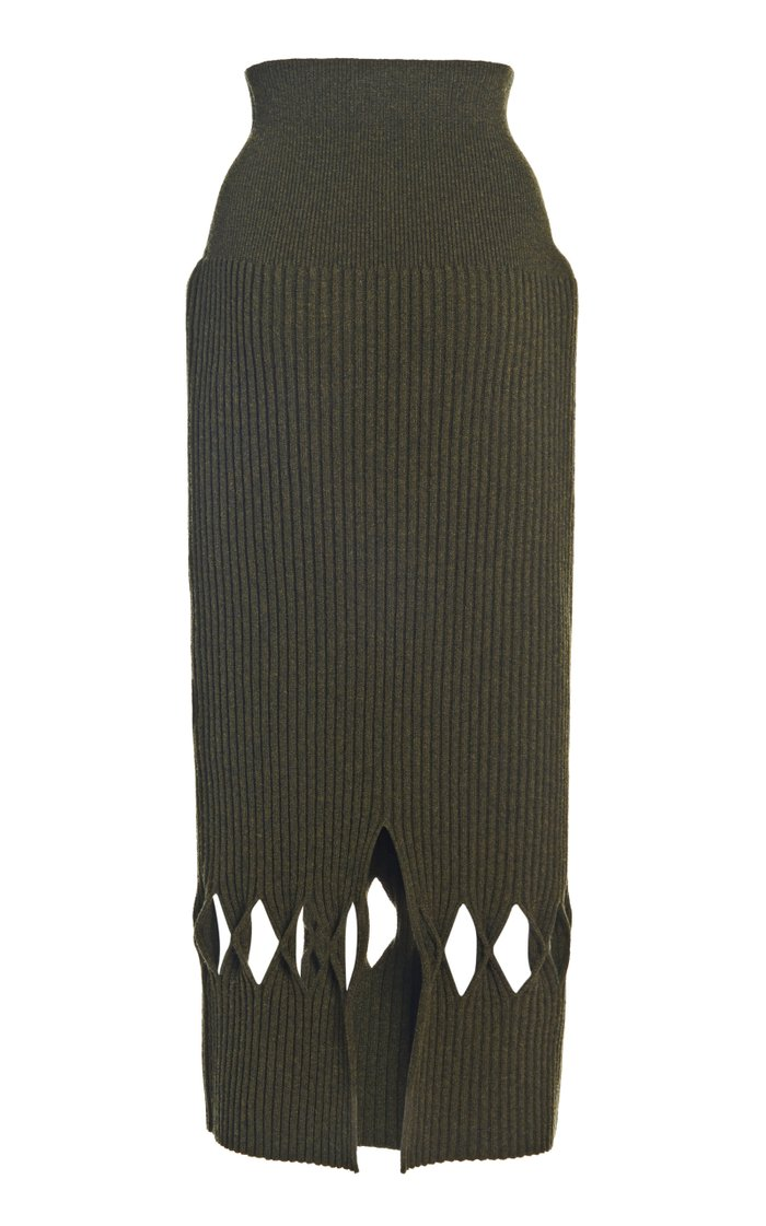 Cutout Ribbed-Knit Wool-Blend Midi Skirt