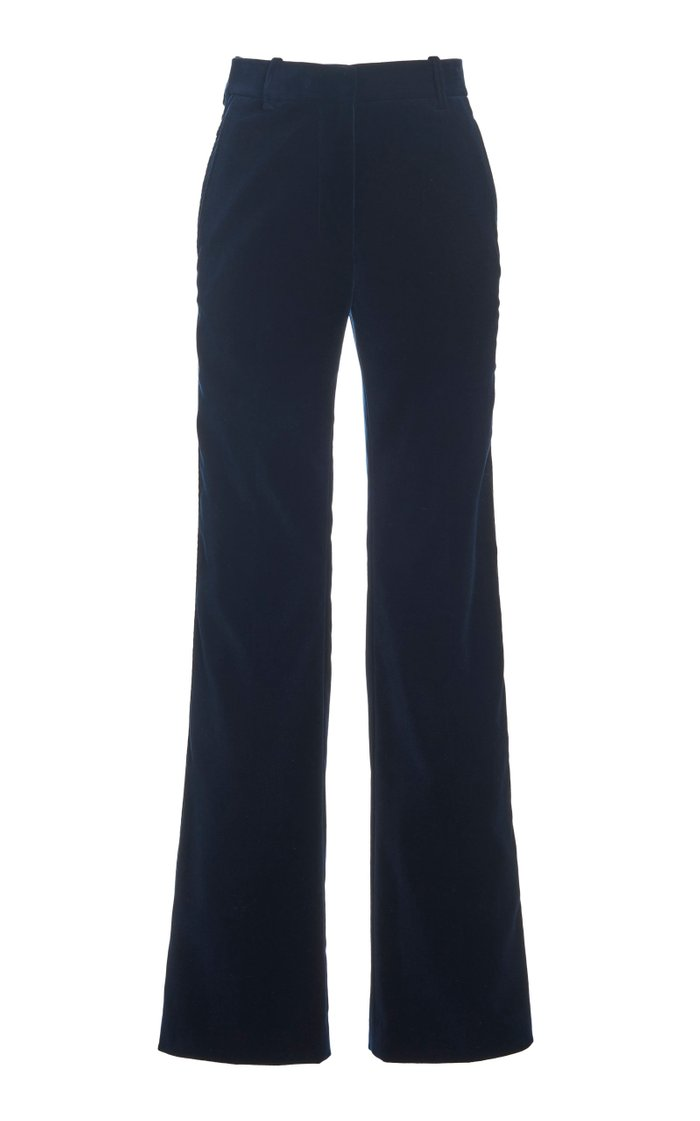 Cotton Velvet Flared-Leg Trousers