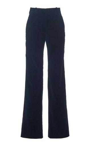 Cotton Velvet Flared-Leg Trousers