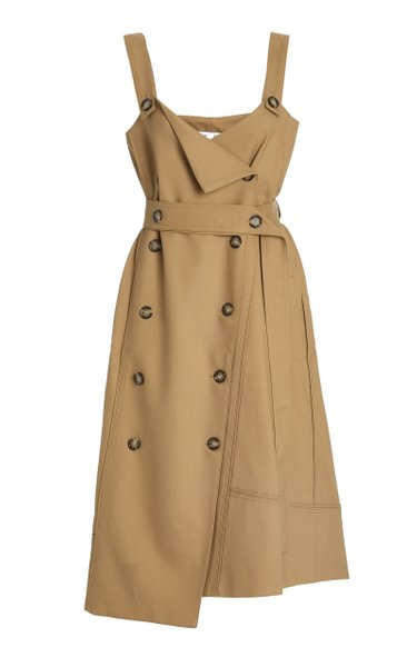 Double-Breasted Midi Trench Dress