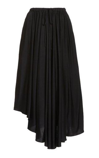 Asymmetric Jersey Drawstring Midi Skirt