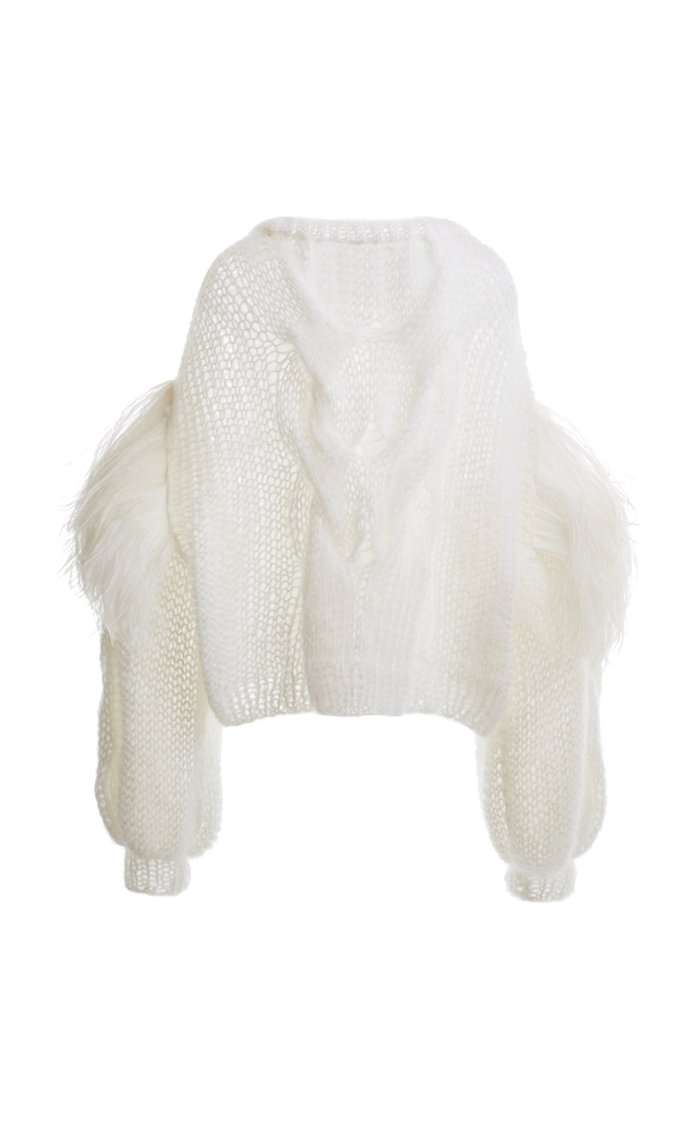 Feather-Trimmed Cable-Knit Mohair Sweater