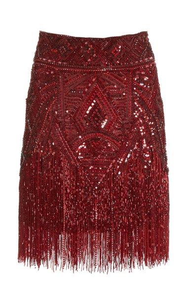 Fringed Beaded Mini Skirt