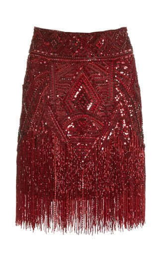 Fringed Beaded Mini Skirt