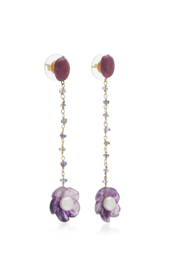 Amethyst Flower 18K Yellow Gold Dangle earrings
