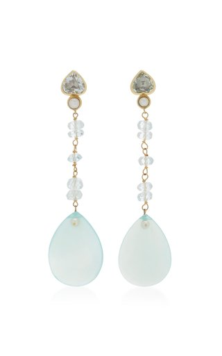 18k Yellow Gold Aqua Dangle earrings