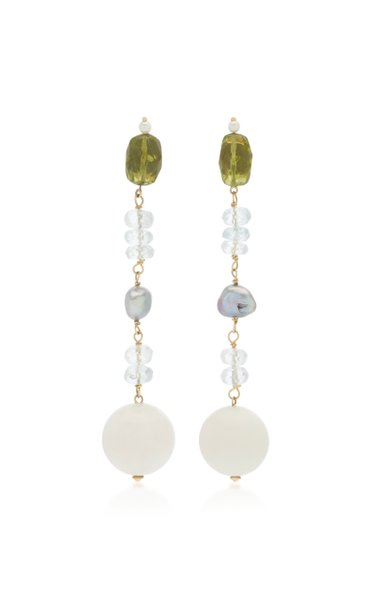 18K Yellow Gold Peridot Dangle earrings