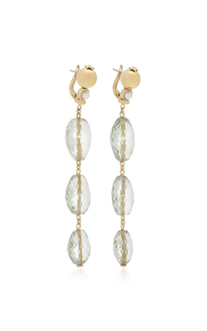 18K Yellow Gold Amethyst Dangle earrings