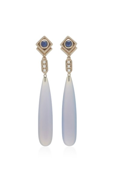 18K White Gold Sapphire and Diamond Teardrop Earrings