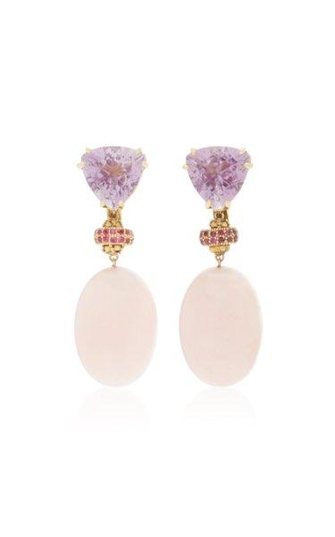 18K Yellow Gold Amethyst and Pink Opal Dangle earrings