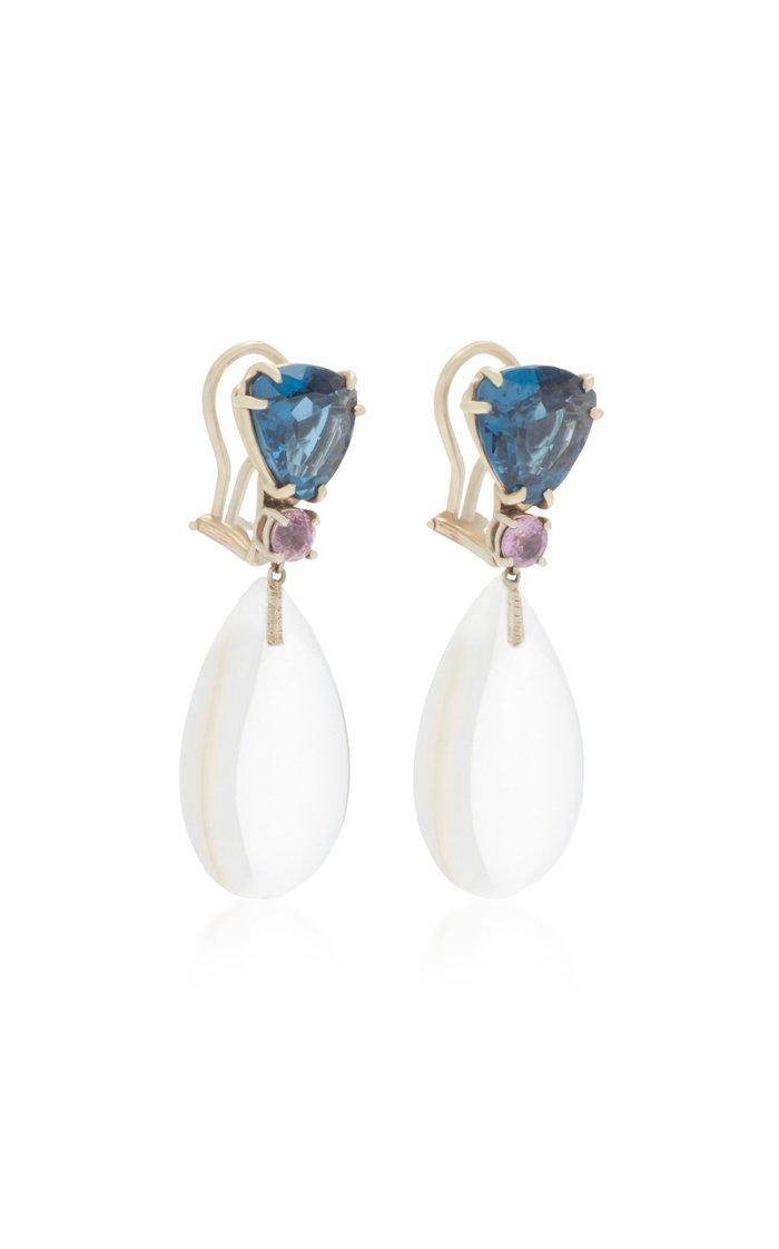 18K White Gold Topaz and Sapphire Dangle earrings