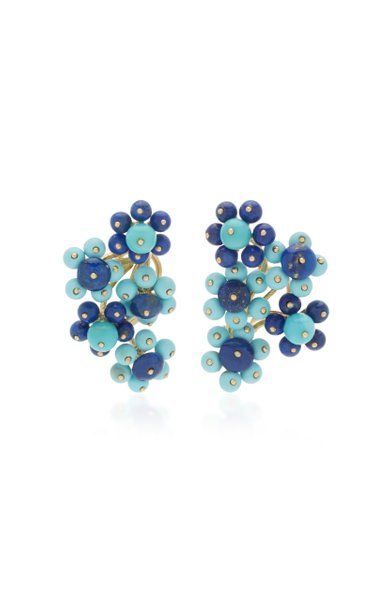 18K Yellow Gold Turquoise and Lapis Flower Cluster Earrings