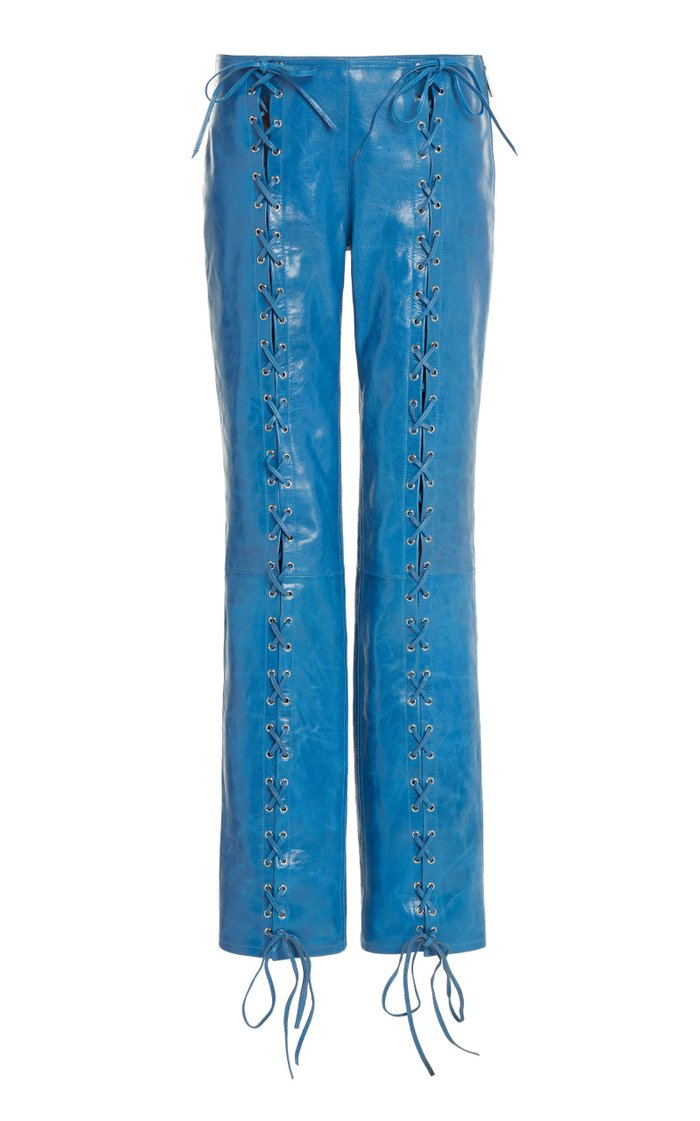 Christiana Lace-Up Leather Pants