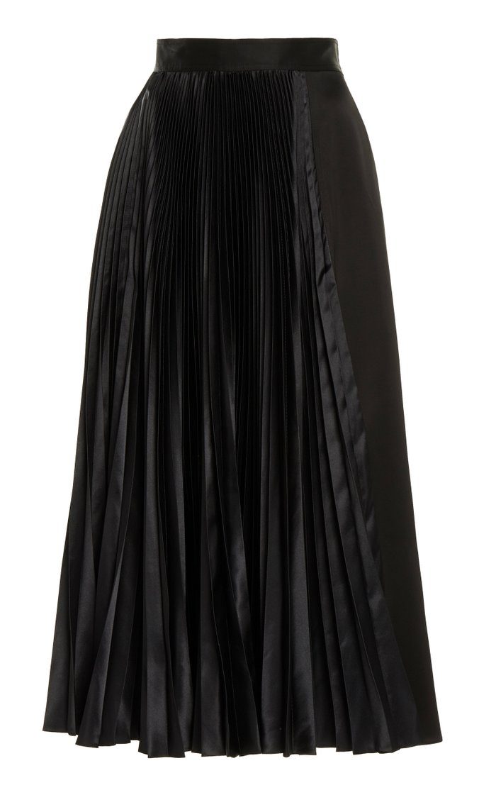 Pleated Sateen Midi Skirt