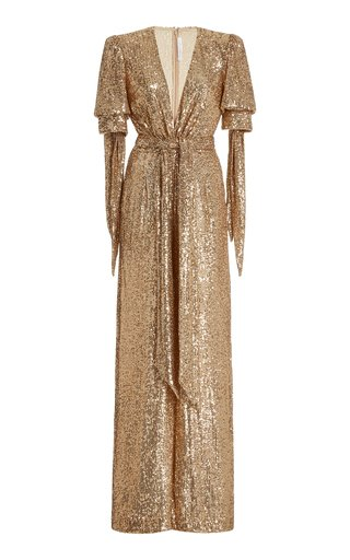 Exclusive Belted Sequined Wrap-Effect Jumpsuit