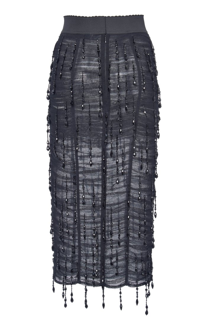 Ruched Chiffon Pencil Skirt
