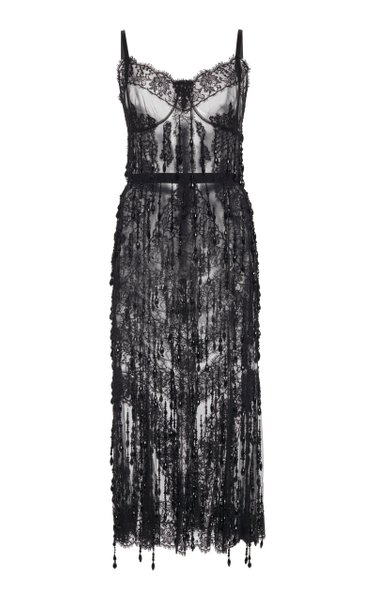 Embellished Sheer Chiffon Dress