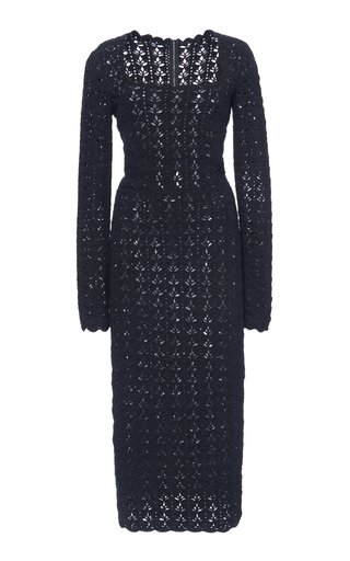 Open-Knit Midi Dress