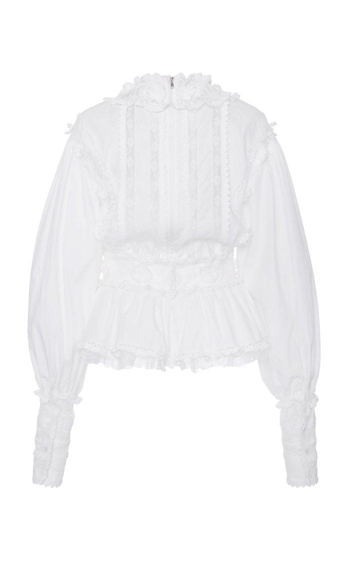 Puffed-Sleeve Crepe Blouse