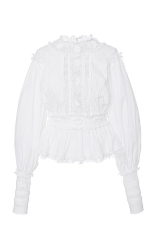 Puffed-Sleeve Crepe Blouse