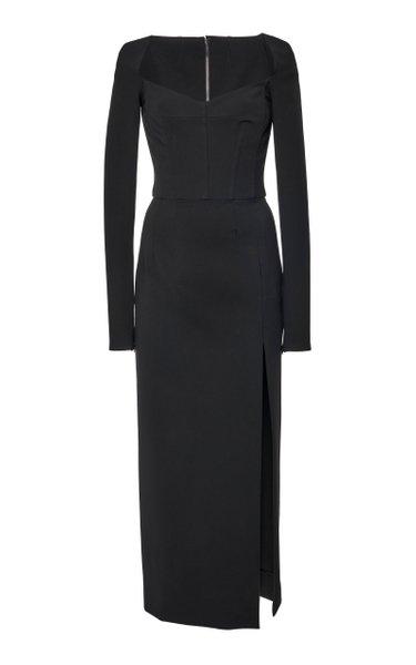 Corseted High-Slit Crepe Midi Dress