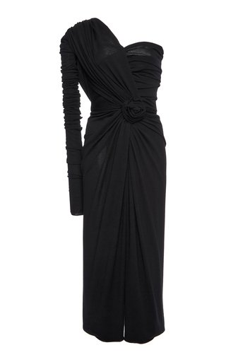 Ruched One-Shoulder Jersey Dress