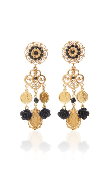 Charms Gold-Plated And Glass Clip Earrings