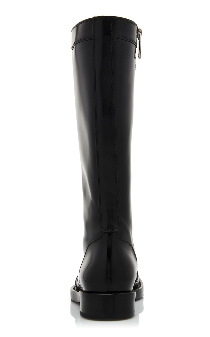 Lace-Up Leather Knee Boots