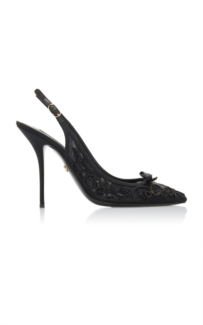 Beaded Embroidered Mesh Slingback Pumps