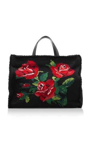 Sicily Embroidered Floral Leather Tote