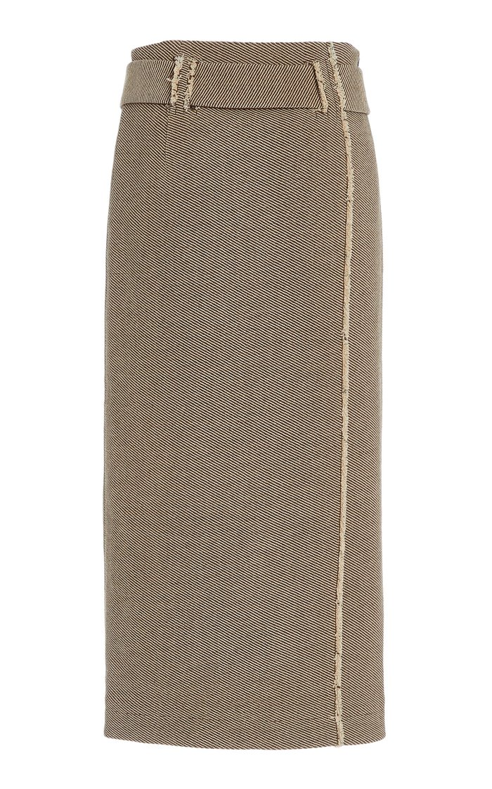 Mia Belted Wool-Cotton Twill Midi Pencil Skirt