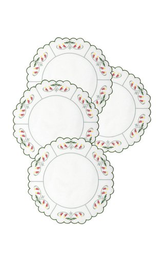 Set-Of-Four Marina Embroidered Linen Placemats