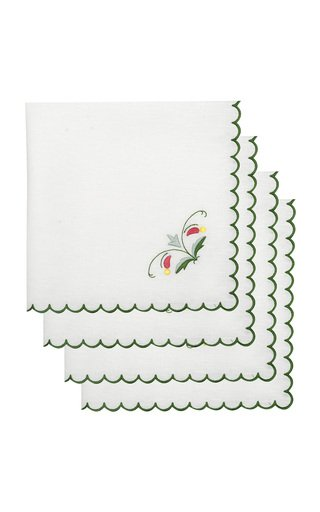 Set-Of-Four Marina Embroidered Linen Napkins