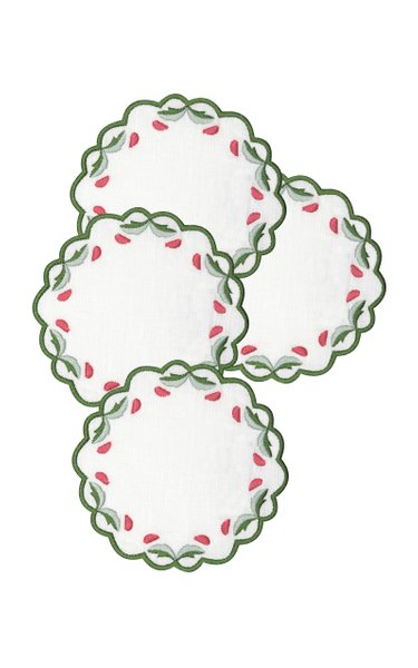 Set-Of-Four Marina Embroidered Linen Coasters