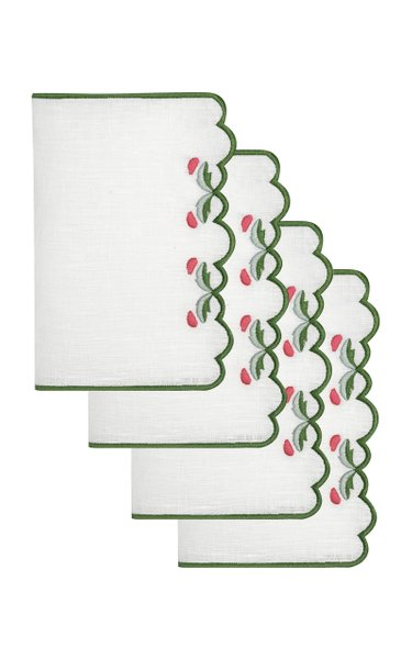 Set-Of-Four Marina Embroidered Linen Cocktail Napkins
