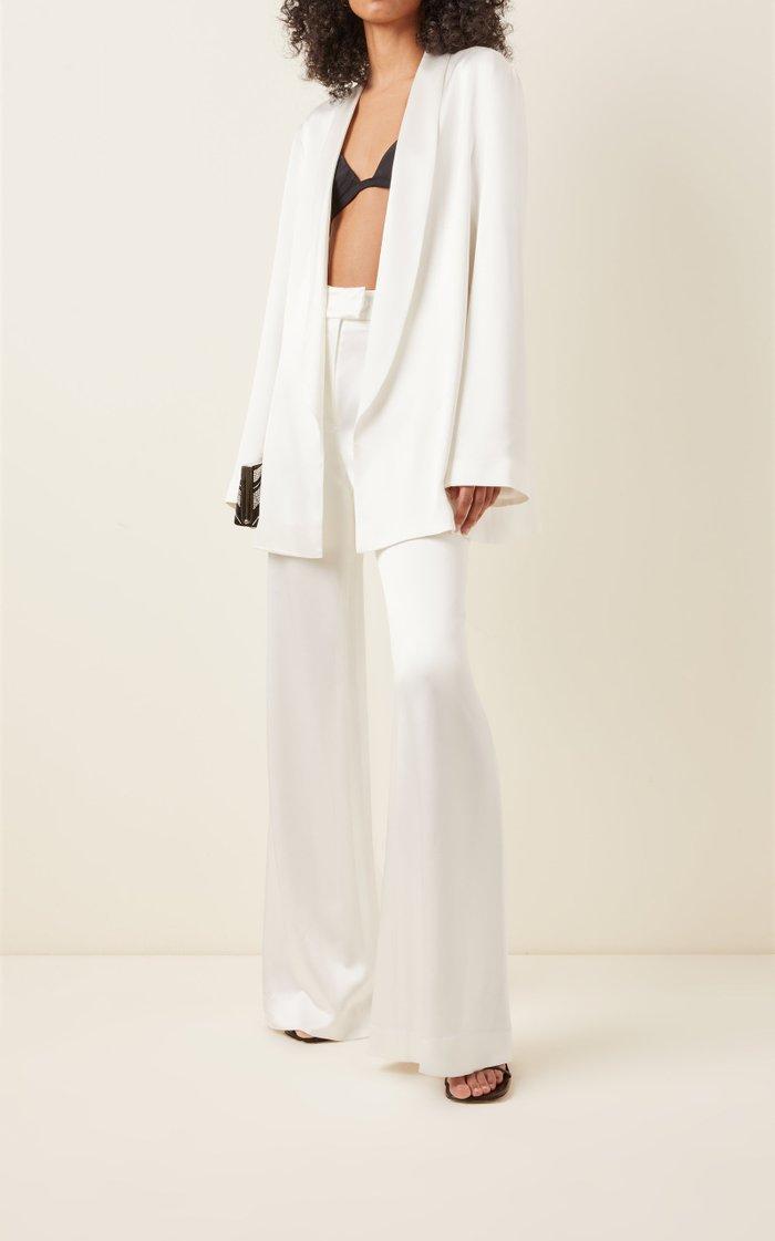 Julianne Satin Open-Front Blazer