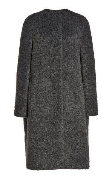 Collarless Mélange Wool-Alpaca Coat