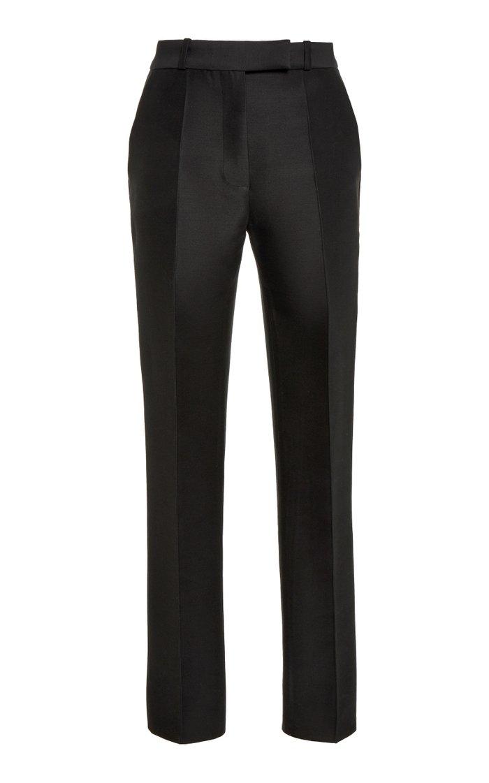Cropped Wool-Silk Skinny Pants