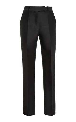 Cropped Wool-Silk Skinny Pants