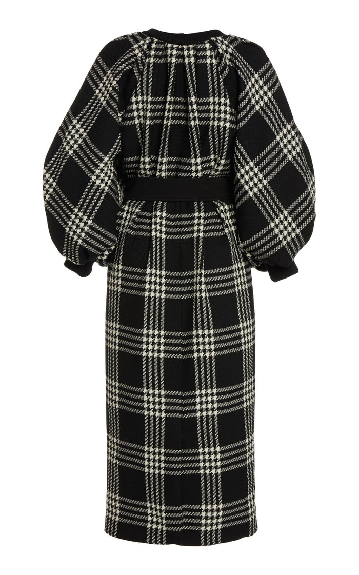 Belted Plaid Wool Sweater Dress