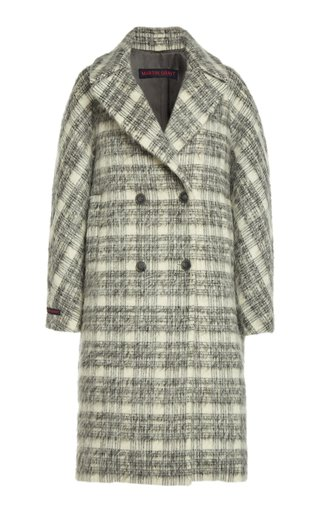 Plaid Mohair-Wool Cocoon Coat