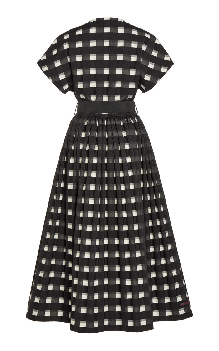 Belted Gingham Cotton Midi Wrap Dress