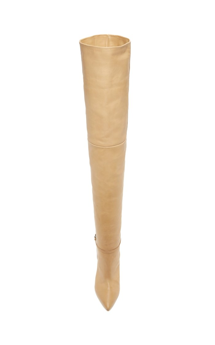 Embellished Over-The-Knee Leather Boots