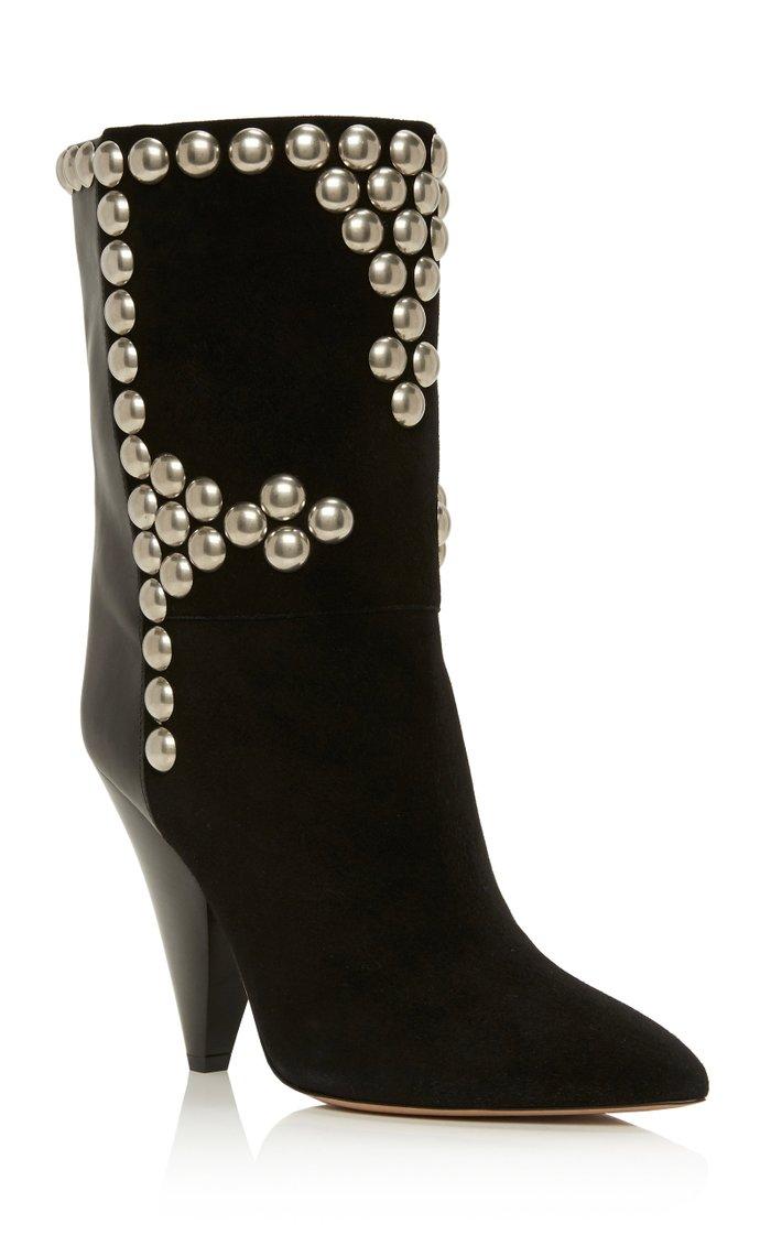 Layo Studded Leather-Paneled Velvet Ankle Boots