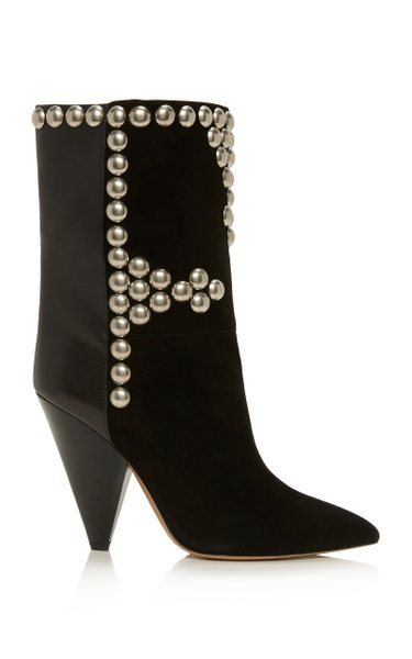 Layo Studded Leather-Paneled Velvet Ankle Boots