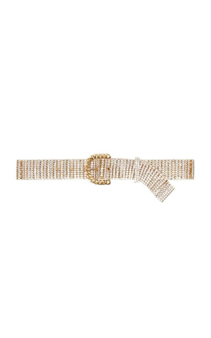Crystal-Embellished Gold-Tone Belt