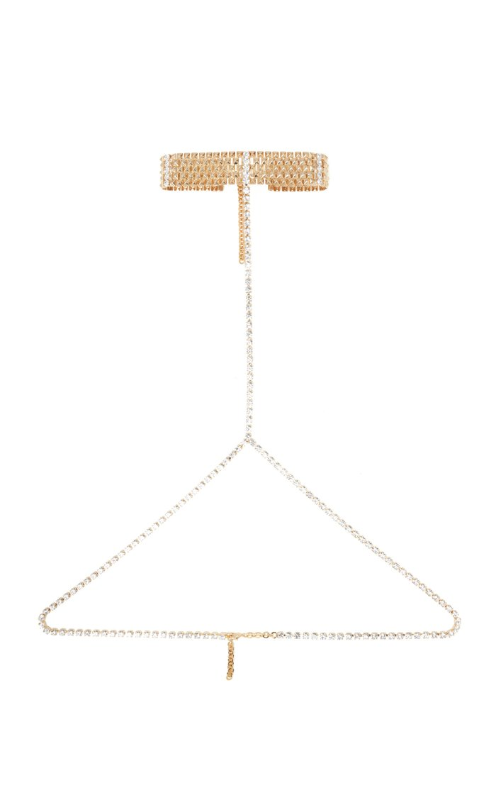 Crystal-Embellished Gold-Tone Body Chain