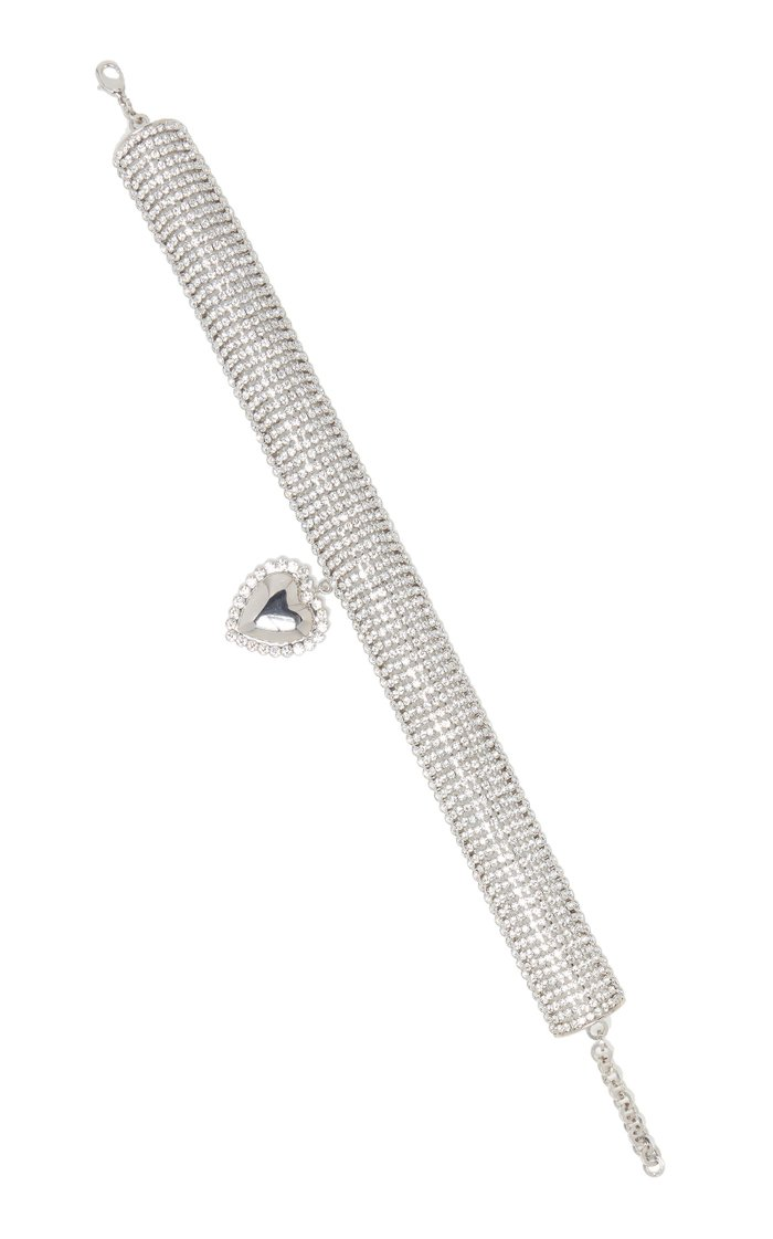 Silver-Tone And Crystal Choker
